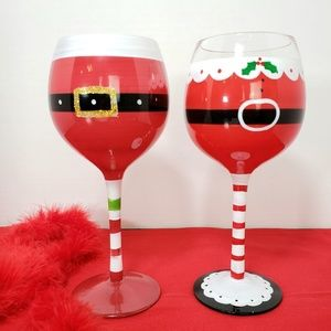 Mr and Ms Claus Crystal Wine Goblets